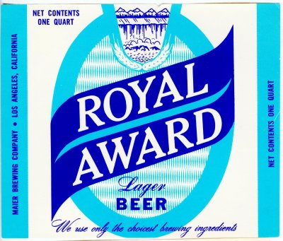 royal award beer label