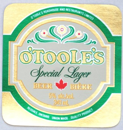 o'toole's beer label