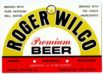 roger wilco beer label