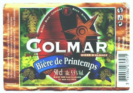 colmar printemps beer label