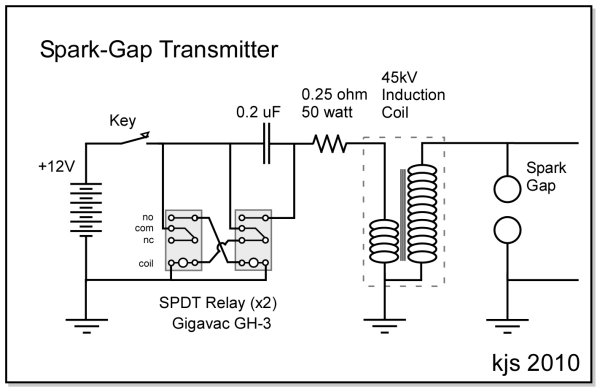 Kjs crystal radio spark gap circuit diagram of the power module indicating the wiring concept for the two relay solution and finally a photo of the set with the two relays in ccuart Images