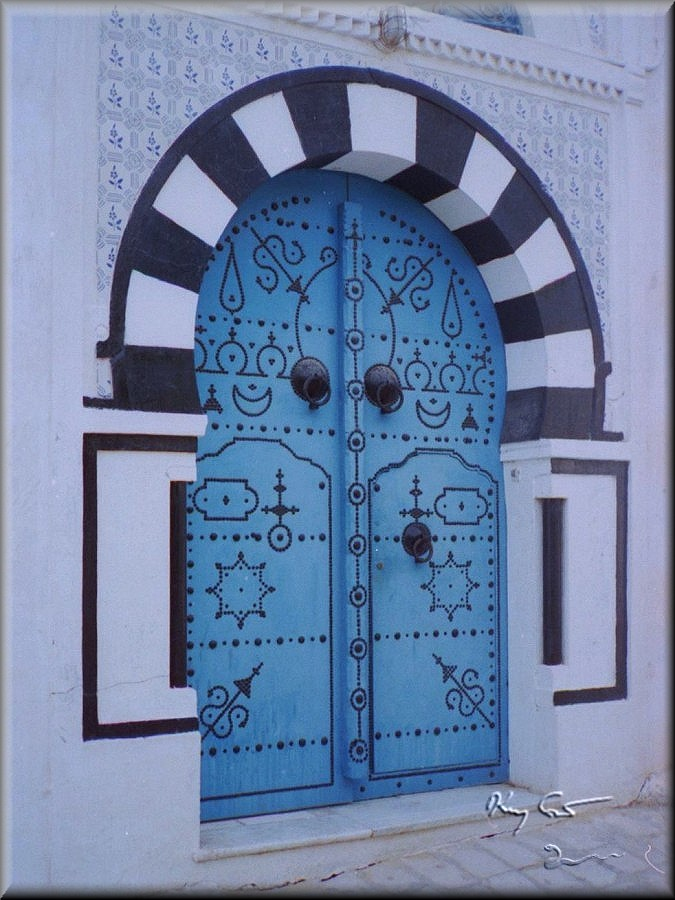 Blue door in Sidi Bou Said, tunisia